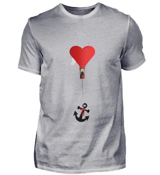 roter Herz Ballon mit Liebespaar & Anker