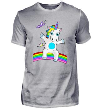 Unicorn sitting on Rainbow - Einhorn