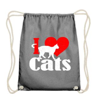 ★ I LOVE CATS grunge white red