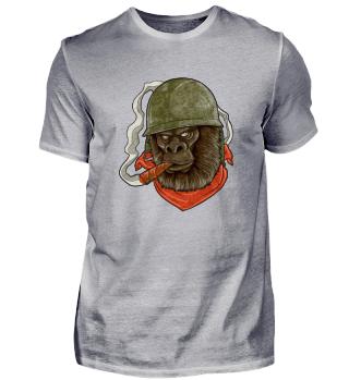 Lustiges Gorilla Militär Shirt I Affen