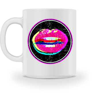 Lips 2 - crossed neon grunge Button