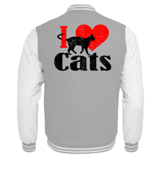★ I LOVE CATS grunge black red