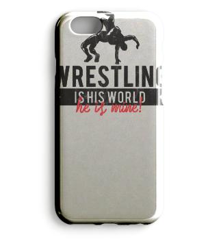 Vintage Wrestling Geschenk - Wrestling Is His World. He Is Mine. - Geschenk Gift Wrestler Wrestling Fun Gag Love