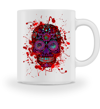 Funny Mexican Sugar Skull red grunge