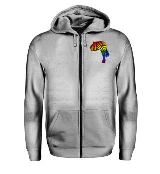 ARBEZ Zebra from behind - rainbow