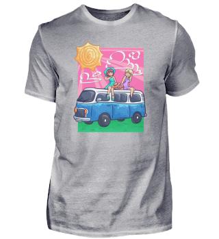 Girls Camping woman bus holidaysSummer