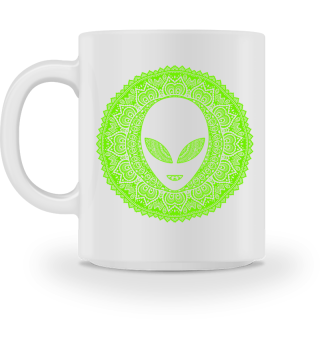 Ethnic Folklore Mandala - Green Alien I