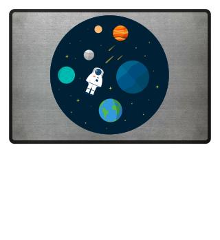 Flat Design Astronaut Cosmic Space Plane