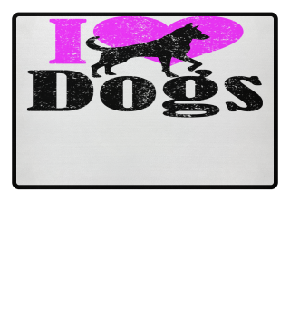 ★ I LOVE DOGS grunge black pink