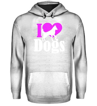 ★ I LOVE DOGS grunge white pink