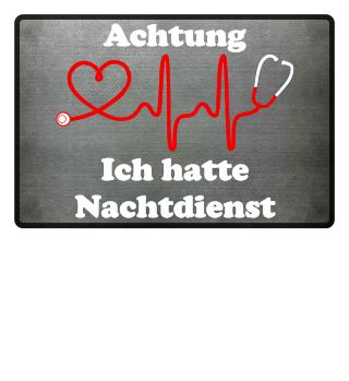 Krankenschwester-Fußmatte | ACHTUNG NACHTDIENST (ideales Geschenk)