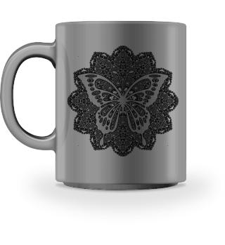 ♥ Vintage Mandala I Butterfly I black 1