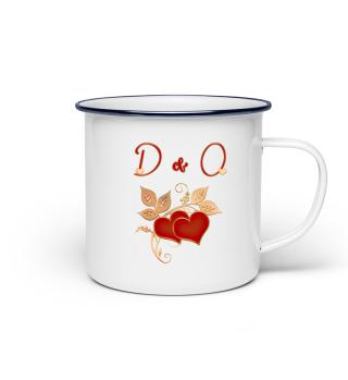 Tasse für Paare Initialen D und O