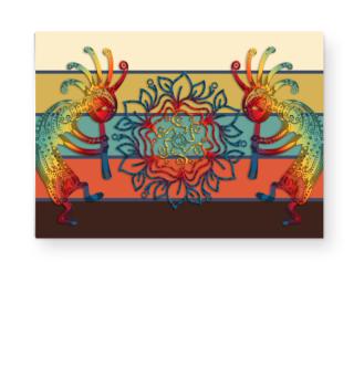Kokopelli Flowers Mandala Streifen 1