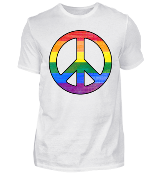 Rainbow Flag PEACE Sign Grunge