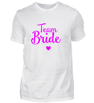 Team Bride mit Herz JGA Party pink