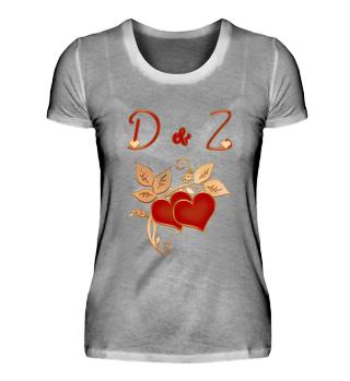 Paarshirt D und Z Initialen