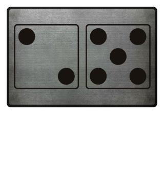 Würfel Punkte 2 + 5 - schwarz