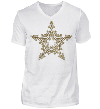 ♥ Vintage Floral Star outline - gold