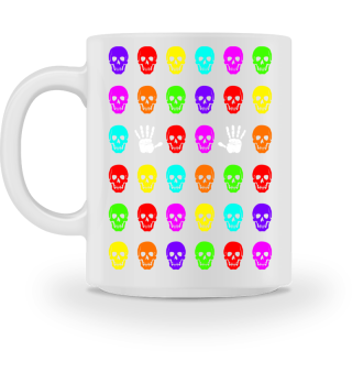 Skulls And Hands - neon colors I