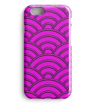 Geometric half-circles waves pink I