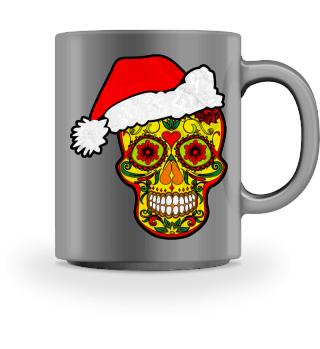 Smiling Sugar Skull Santa Claus
