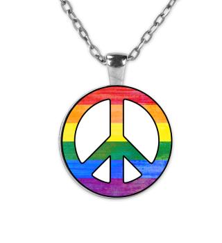 Rainbow Flag PEACE Sign Grunge