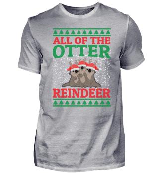 CHRISTMAS OTTER REINDEER T-SHIRT