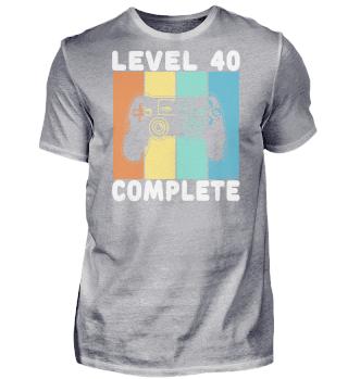 40 Geburtstag Level Complete Bunt