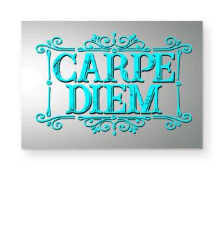 CARPE DIEM - vintage frame cyan Poster