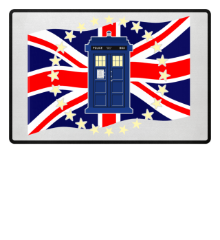 ★ Blue Police Box - Union Jack Flag 1a