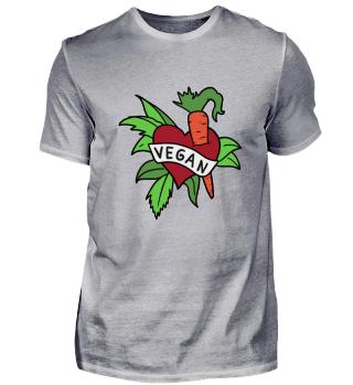 Vegan Herz mit Möhre und Blattsalat