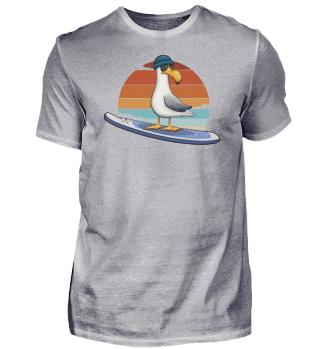 Retro Sunset Surfer Möwe SUP Ostsee