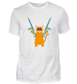funny cat with guns shirt