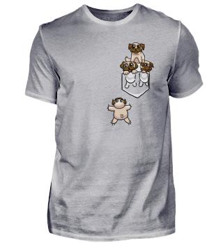 Mops T-Shirt Pug Tasche Pugs Pocket