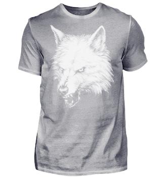 Zeichnung knurrender Wolf schwarz weiß
