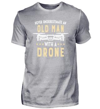 Drone Pilot Grandpa Gift Idea: Old Man with a Drone