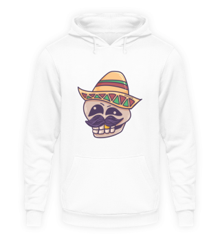 Mexican skull with sombrero and beard