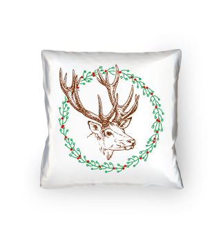 Winter Wreath with Deer - colored