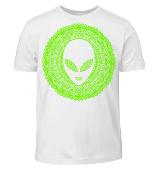 Ethnic Folklore Mandala - Green Alien I