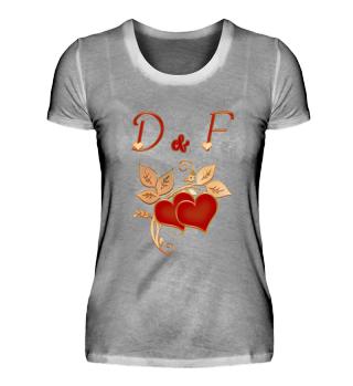 Paarshirt D und F Initialen