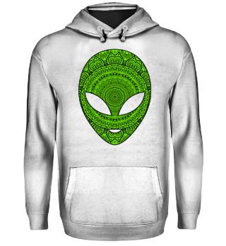 Ethnic Folklore Mandala Green Alien III