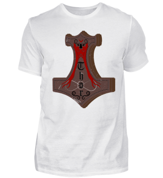 thor hammer red viking shirt odin