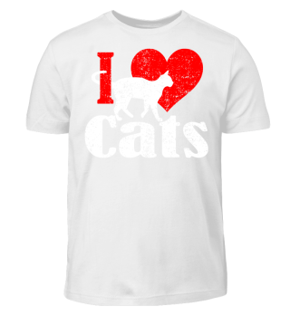 ★ I LOVE CATS grunge white red