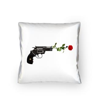STYLISH GUN & RED ROSE T-SHIRT GIFT IDEA