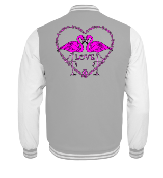 Pink Flamingos Vintage Heart LOVE black