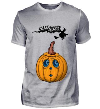 Halloween - Kürbisgesicht mit Hexe