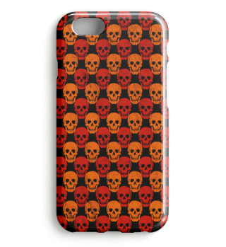 Symmetrical Skulls Pattern red orange I