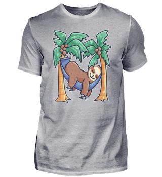 sleeping sloth in a hammock on palm tree