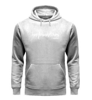 unisex hoodie hopfenmädchen weiße schrift